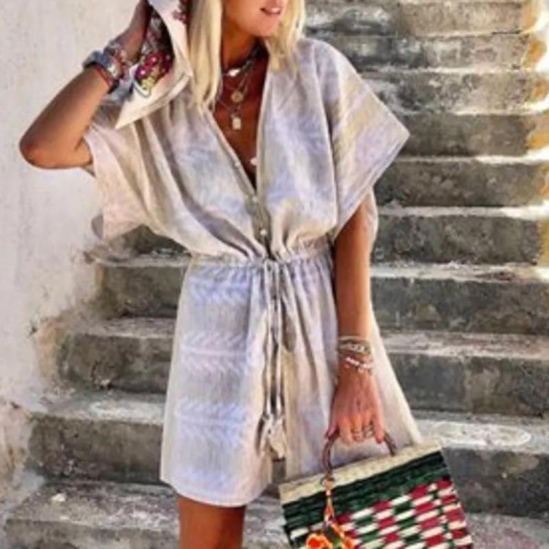 Casual Deep V Drawstring Tassel Short Sleeve Romper