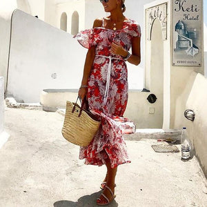 Romantic Print Slim Beach Holiday Dress