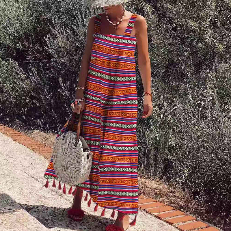 Casual Sling Sleeveless Printed Colour Tassel Off-Shoulder Dress