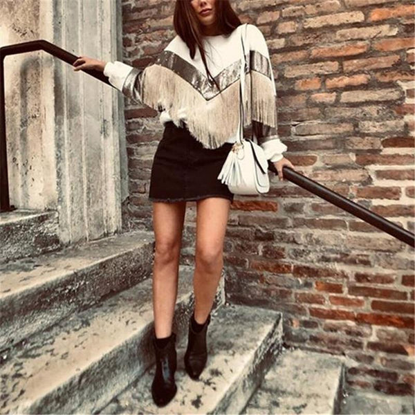 Casual Long Sleeve Color Block Fringed Pullover Sweatshirt