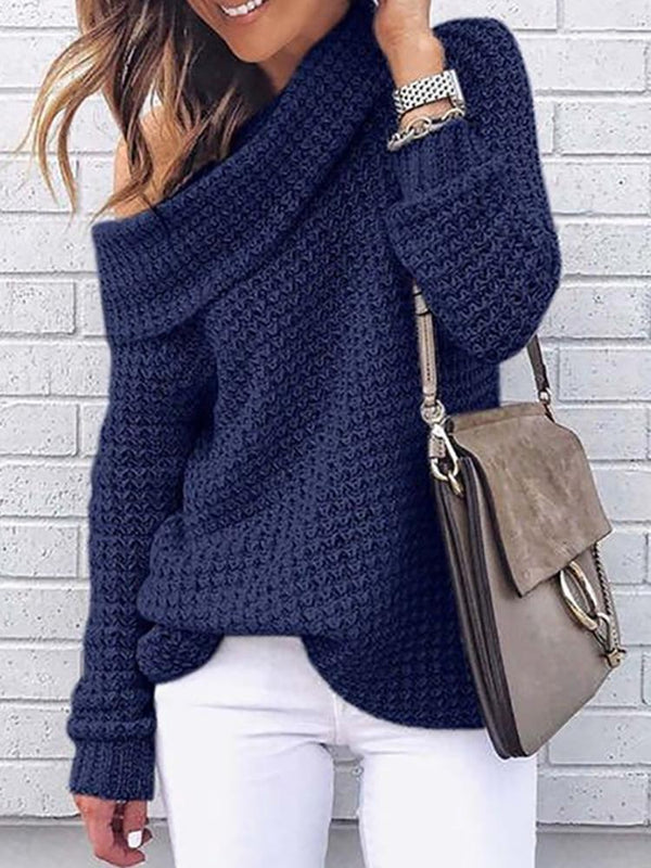 Casual Pure Color Off Shoulder Long Sleeve Sweater