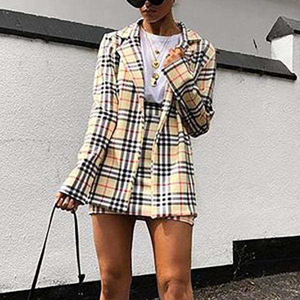 Casual Blend Notch Lapel Slit Plaid Suit