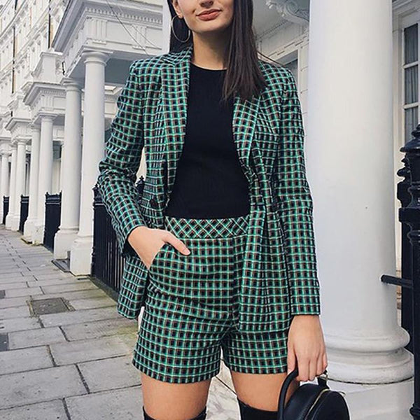 Classic Blend Slit Long Sleeve Plaid Suit