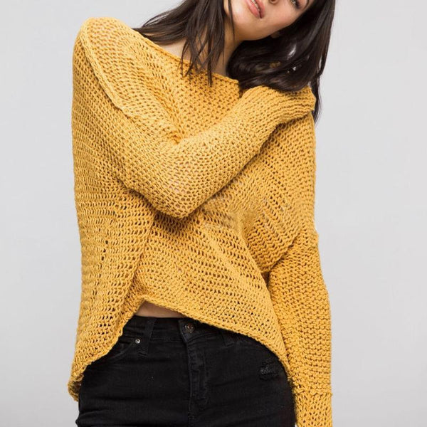 Casual Round Neck Long Sleeve Pure Colour Sweater