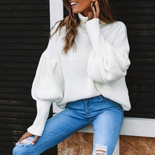 Casual High Neck Pullover Solid Color Sweater