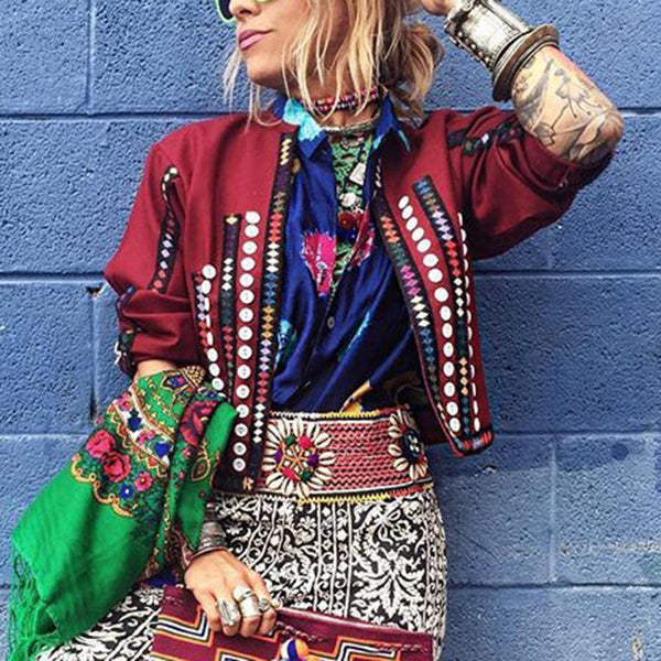Bohemian Long Sleeve Round Neck Short Jacket