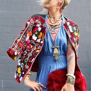 Zip-Neck Embroidered Print Jacket
