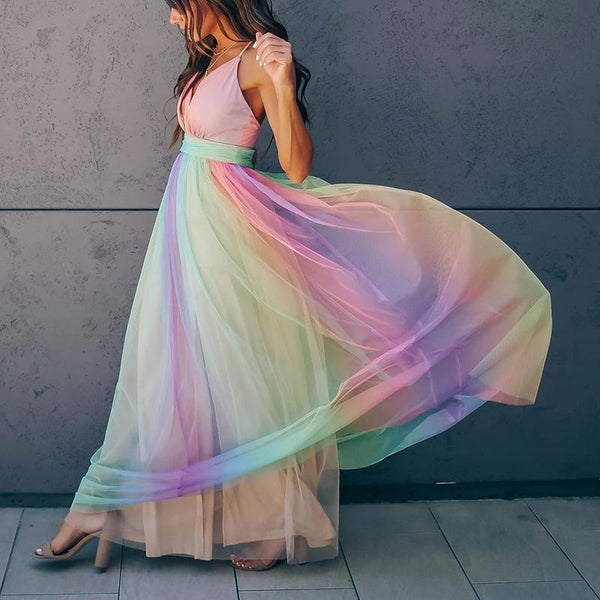 Open Back Rainbow Stripe MAXI Dress