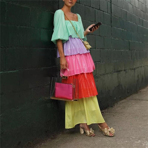 Fashion Square Neck Puff Sleeve Color Block Multi-Layer Rainbow Dress