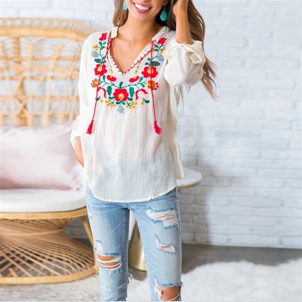 V-Neck Embroidered Print T-Shirt