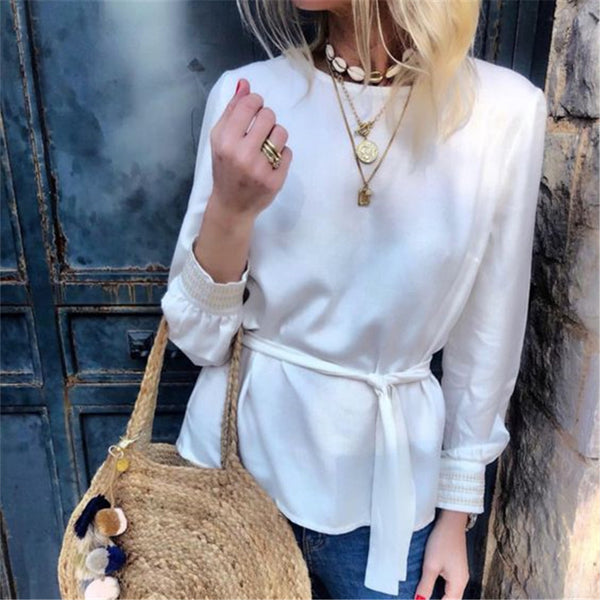 Brief Long Sleeve Round Neck Belt Tie T-Shirt