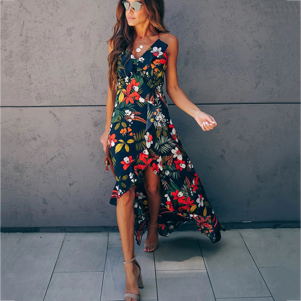 Sexy Bare Back Floral Pattern Irregular Dress