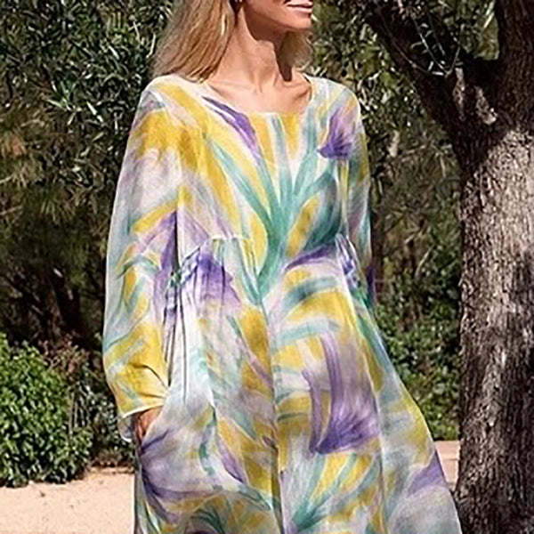 European And American Style Round Neck Long Sleeve Printed Colour Dress