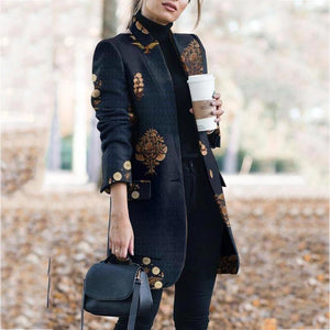 Classy Floral Pattern Button Long Sleeve Coat
