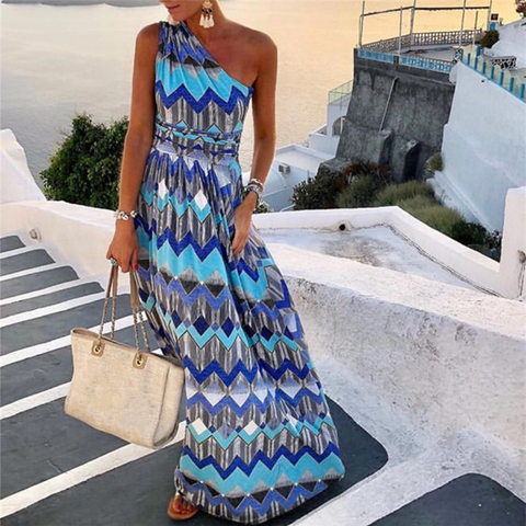Vacation Beach One Shoulder Geometric Print Maxi Dress