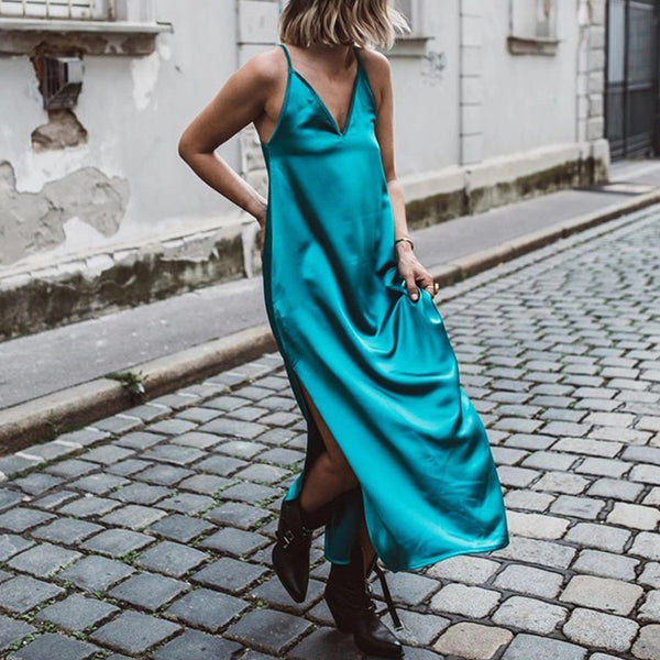 Sexy Deep V Neck Ankle-Length Side Slit Sling Dress