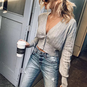 Casual Deep V Neck Long Bubble Sleeve Short Shirt