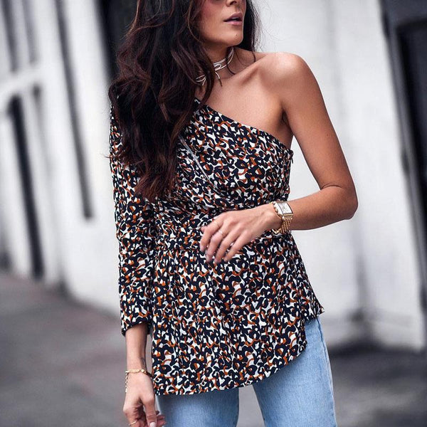 Sexy Single Shoulder Collar Leopard Shirt