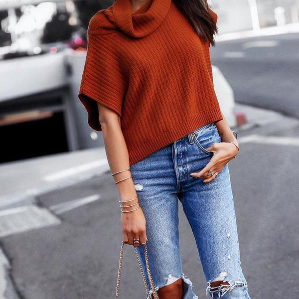 Casual High Collar Solid Color Short Sleeve Sweater
