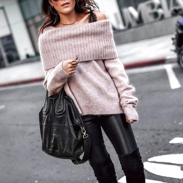 Casual Boat Neck Pure Colour Sweater