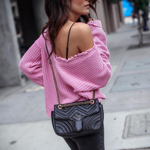 Casual V-Neck Solid Color Long-Sleeve Sweater