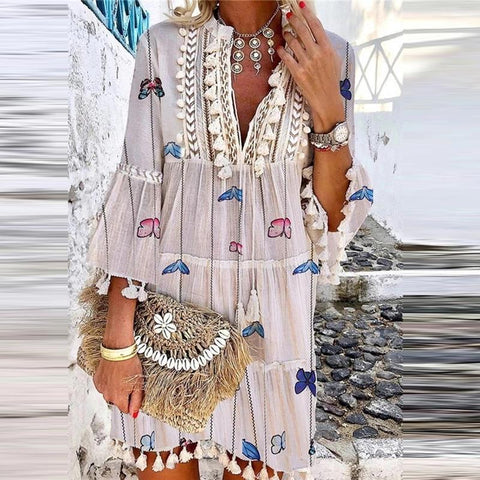 Bohemian V Neck Printed Colour Tassel Dress