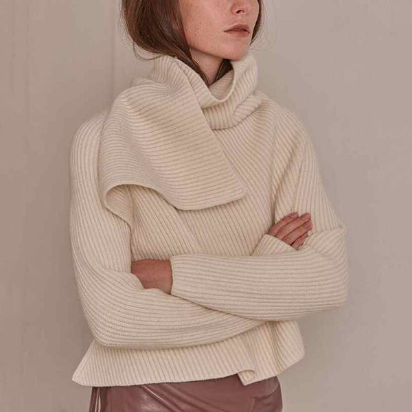 Women's Fashion High Collar Pure Color Long Sleeve Sweater