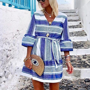 Fashion Casual V Neck Striped Bell Sleeves Dress