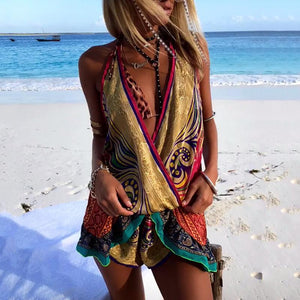 Women's Bohemian V-Neck Printed Color Sleeveless Splicing Loose Suit
