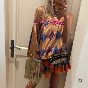 Vacation Beach Off-The-Shoulder Fringed Sleeve Printed Dress