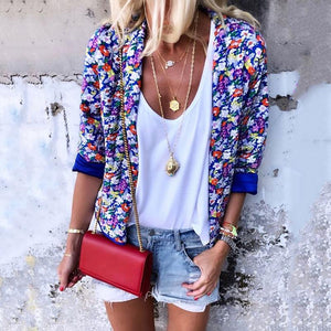 Women's Fashion Printed Color Bracelet Sleeve Loose Blazer