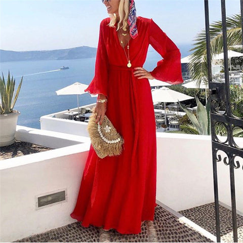 Vacation Solid Color Deep V-Neck Flared Sleeve Maxi Dress