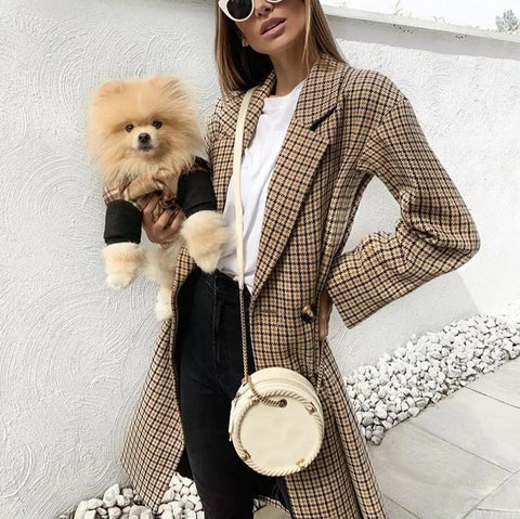 Women's Vintage Check Long Sleeve Tailored Collar Double-Breasted Coat