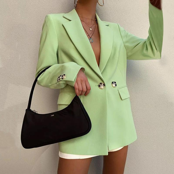 Women's Fashion Pure Color Decorative Button Tailored Collar Blazer