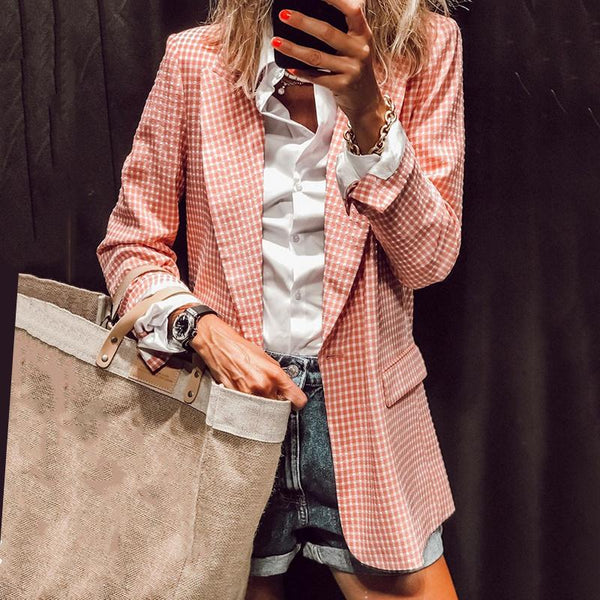 Dreamlip Fashion Long Sleeve Tailored Collar Plaid Loose Blazer