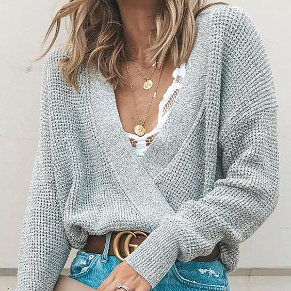Casual Knit V Neck Long Sleeve Pure Colour Sweater