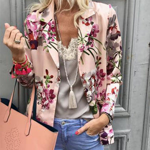 Sweet Turndown Collar Printed Colour Long Sleeve Blazer