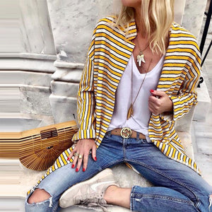 Fashion Turndown Collar Stripe Cardigan
