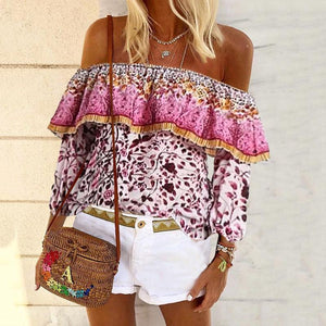 Casual Off-The-Shoulder Floral Print Ruffle Long Sleeve Top