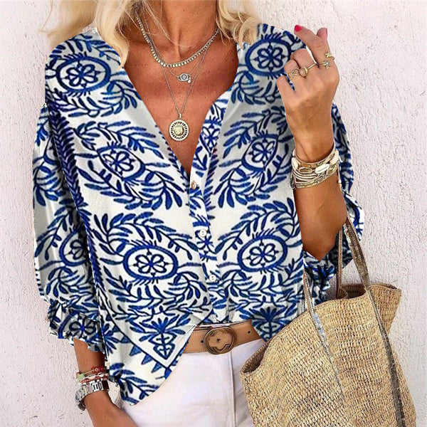Women's Casual Single-Breasted Printed Color Turndown Collar Blouse