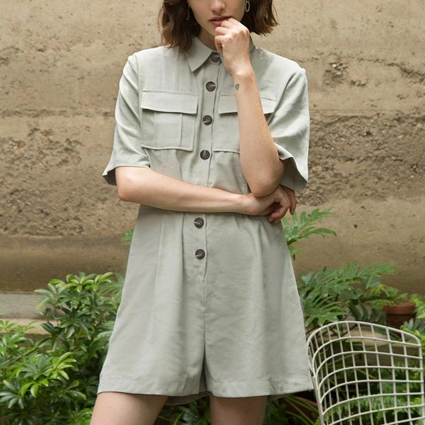 Casual Folded Collar Short Sleeve Solid Color Jumpsuit