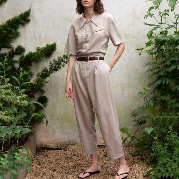 Fashion Folded Collar Short Sleeve Solid Color Jumpsuit