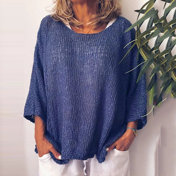 Casual Solid Color Perspective Loose Knit Sweater