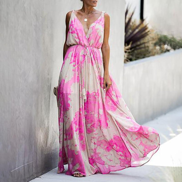 Cute Sling Printed Colour Sleeveless Off-Shoulder Dress
