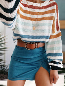 Women's Casual Shoulder Sleeve Round Neck Stripe Sweater