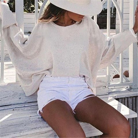 Casual Solid Color Loose Backless Long Sleeve T-Shirt