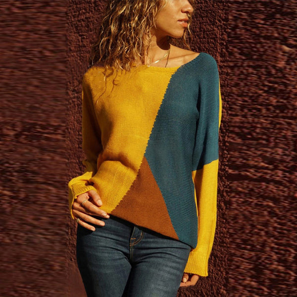 Casual Color Block Knit Long Sleeve T-Shirt