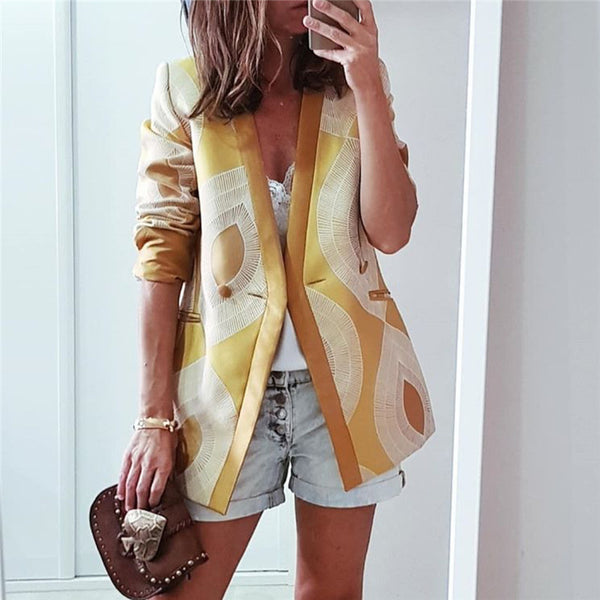 Women's V-Neck Printed Casual Suit