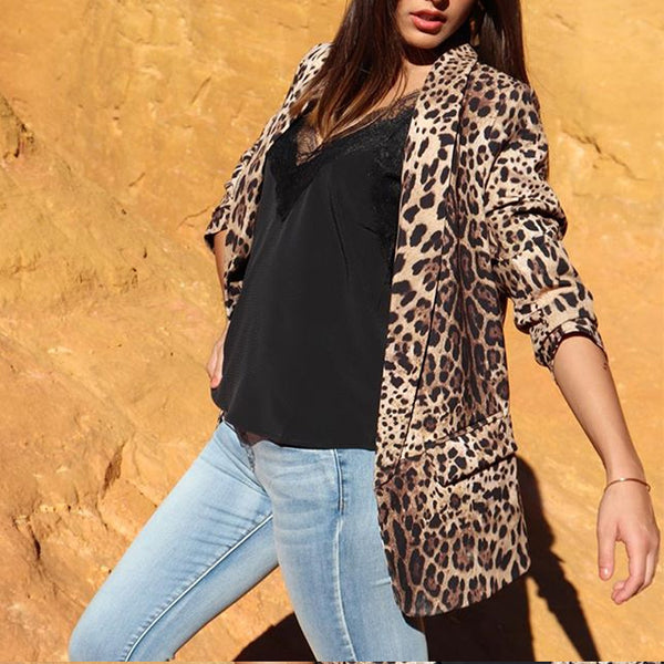 Fashion Fold Collar Leopard With Lid Pocket Ladies Suit