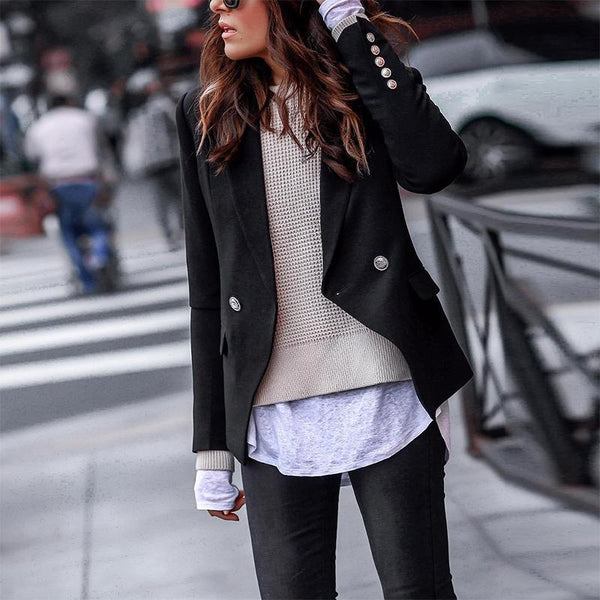 Fashion Fold Over Collar Long Sleeve Button Blazer